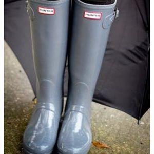 Glossy Hunter Boots Tall Gray
